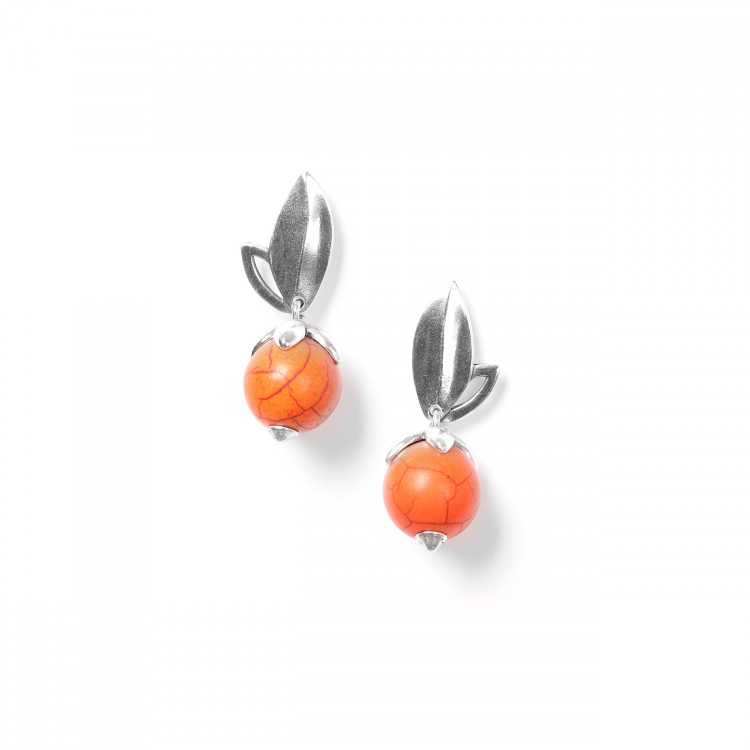 LES FRUITS boucles d'oreilles howlite orange