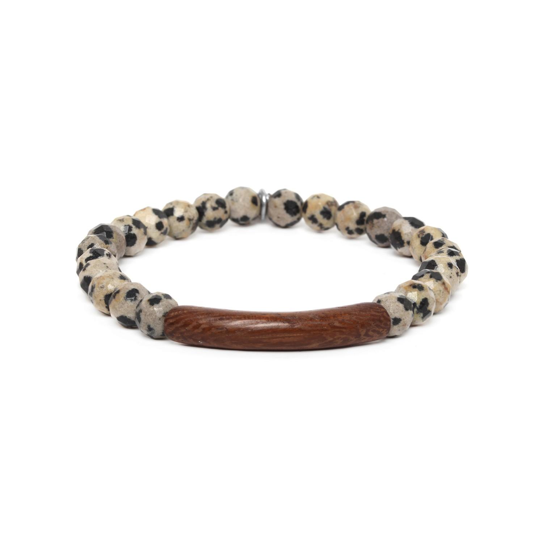 TUBE bracelet homme extensible jaspe dalmatien