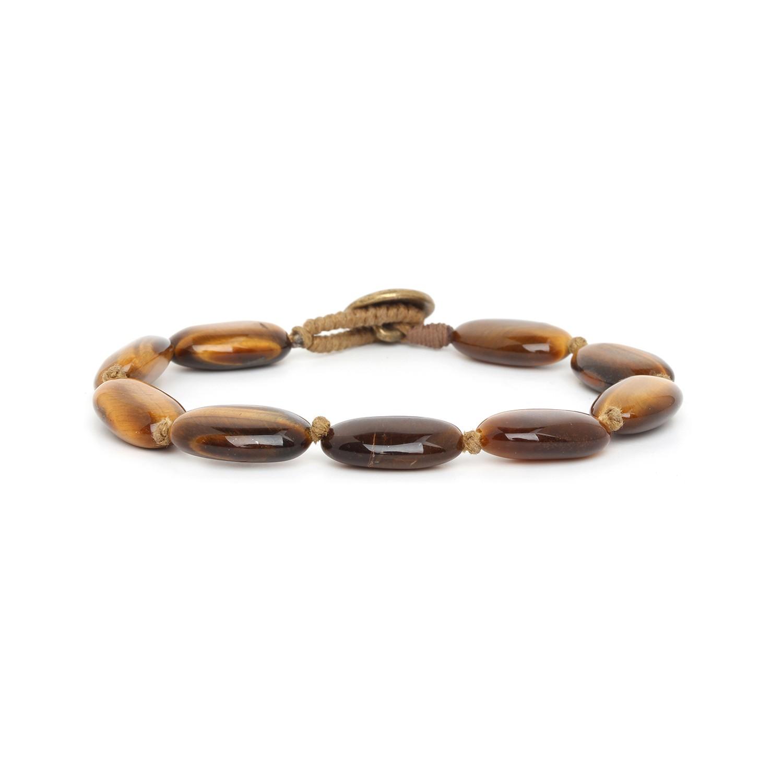 TIGER EYE bracelet homme grandes perles ovales