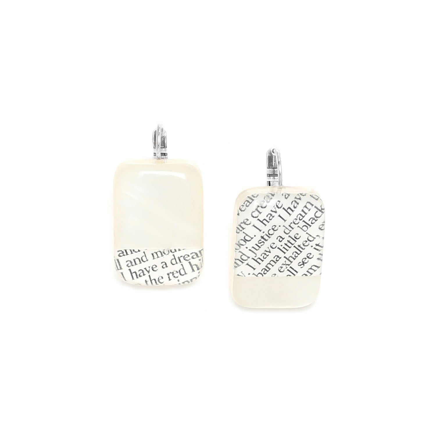 I HAVE A DREAM text on mother of pearl earrings