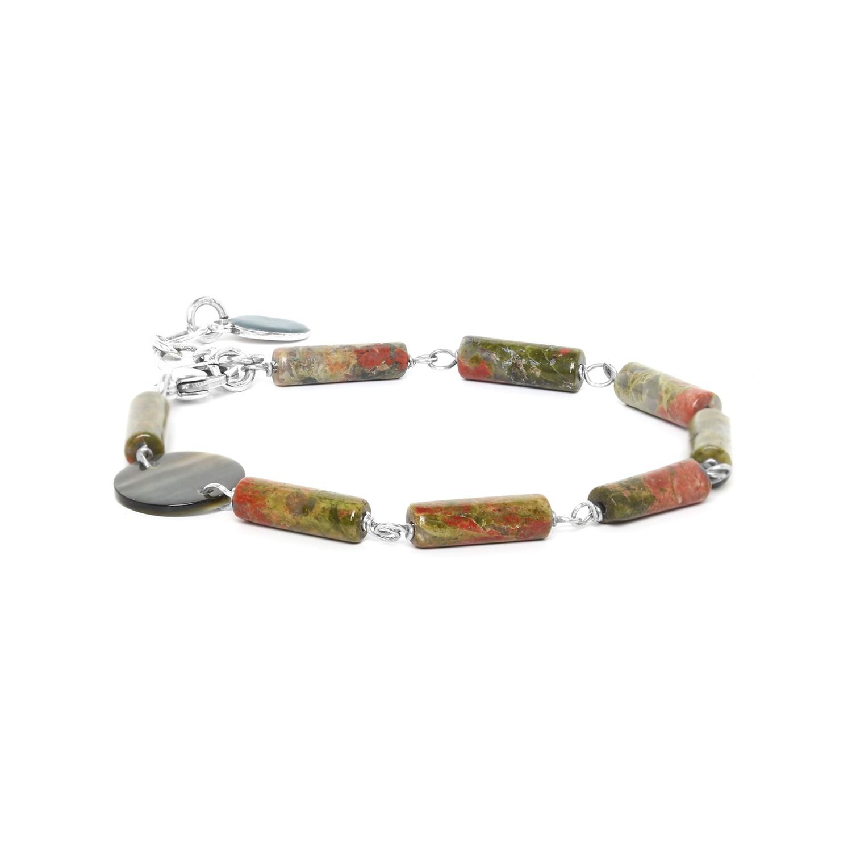 LOOPING bracelet unakite & Nacre