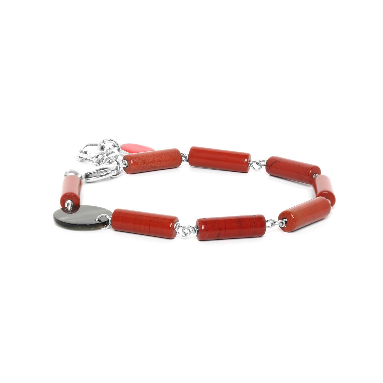 LOOPING bracelet jaspe rouge & Nacre