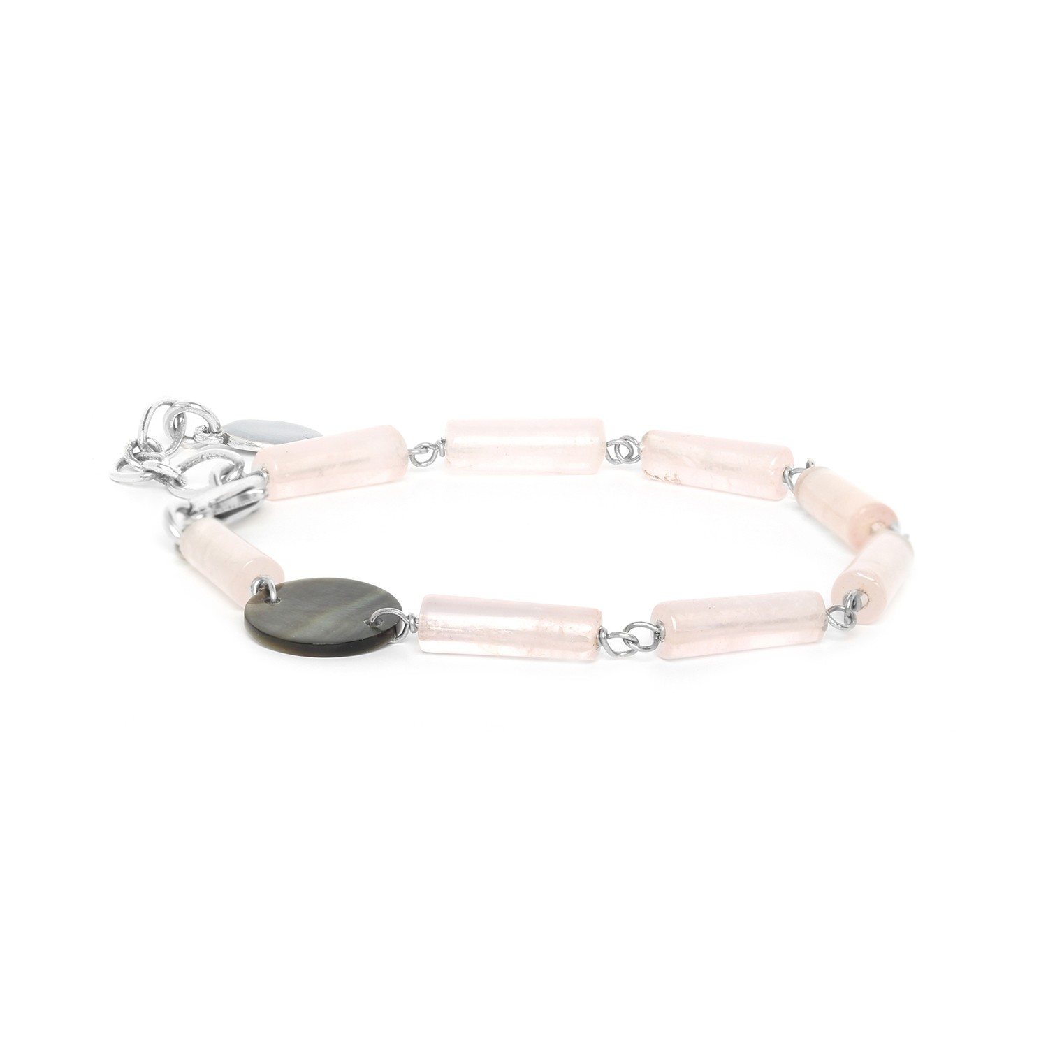 LOOPING bracelet quartz rose & Nacre