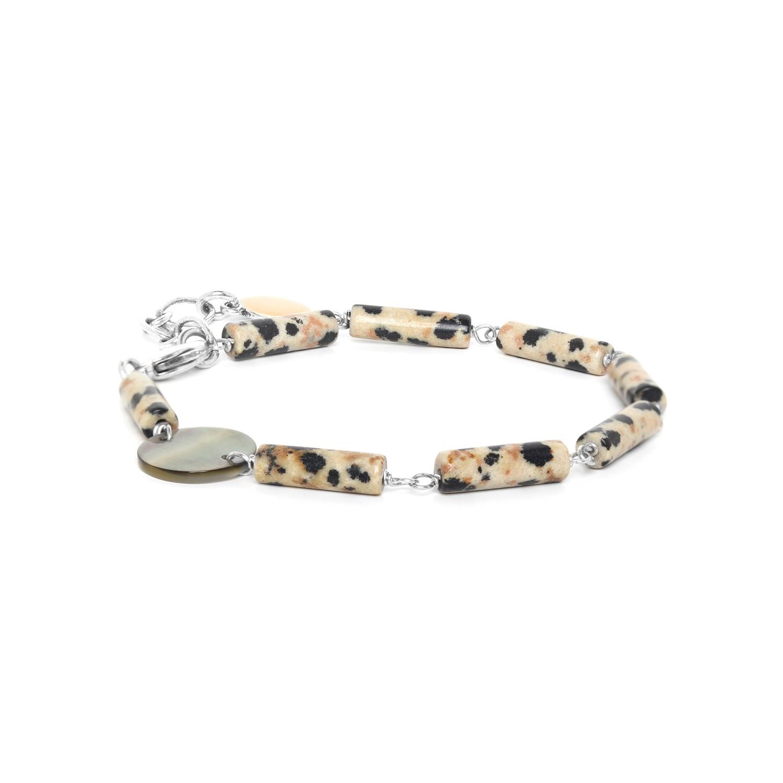 LOOPING bracelet jaspe dalmatien & Nacre