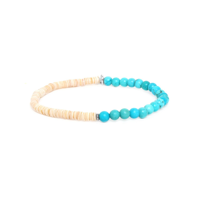 HEISHE bracelet extensible en howlite turquoise