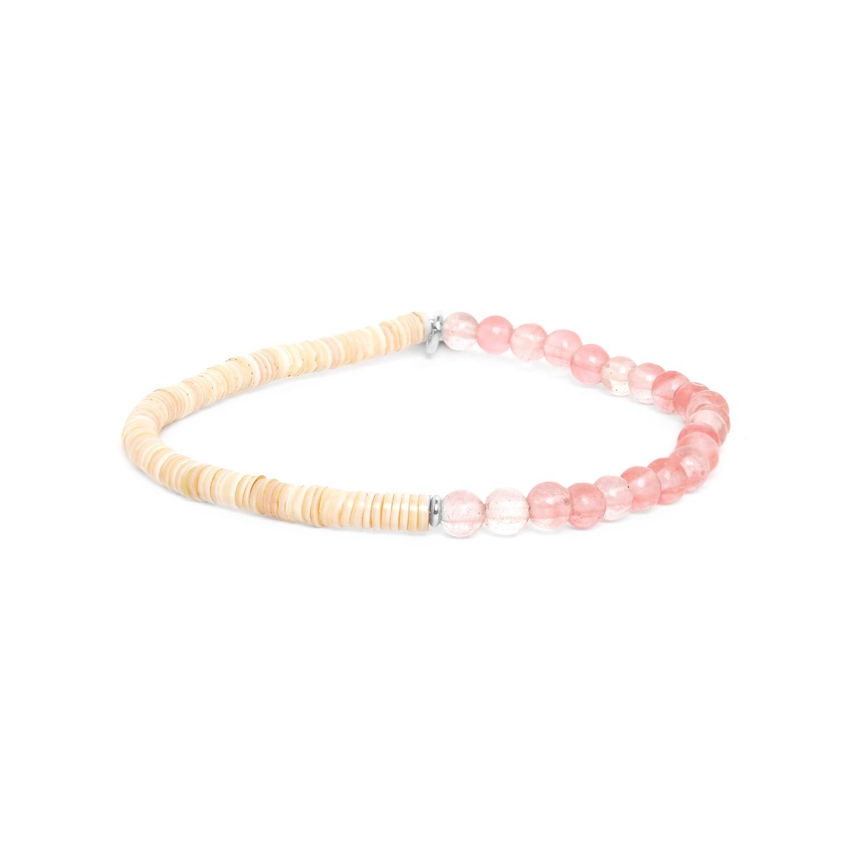 HEISHE bracelet extensible en quartz cerise