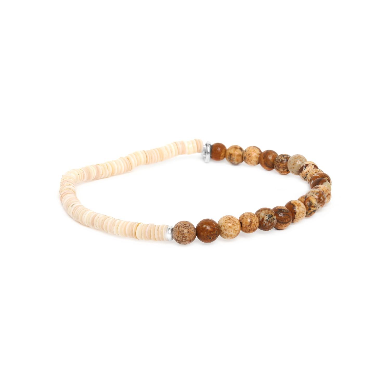 HEISHE bracelet extensible en jaspe paysager