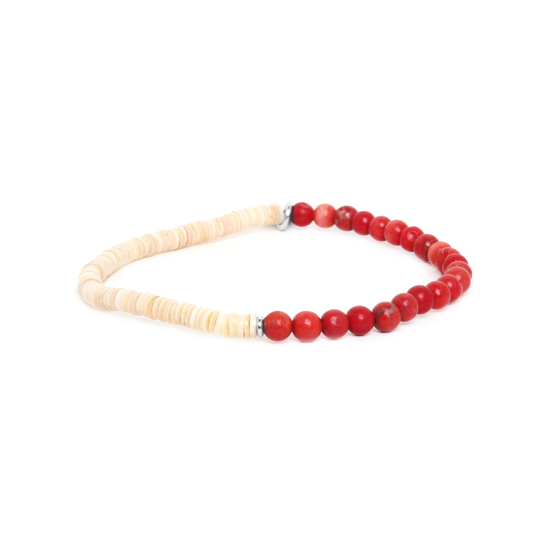 HEISHE bracelet extensible en howlite rouge