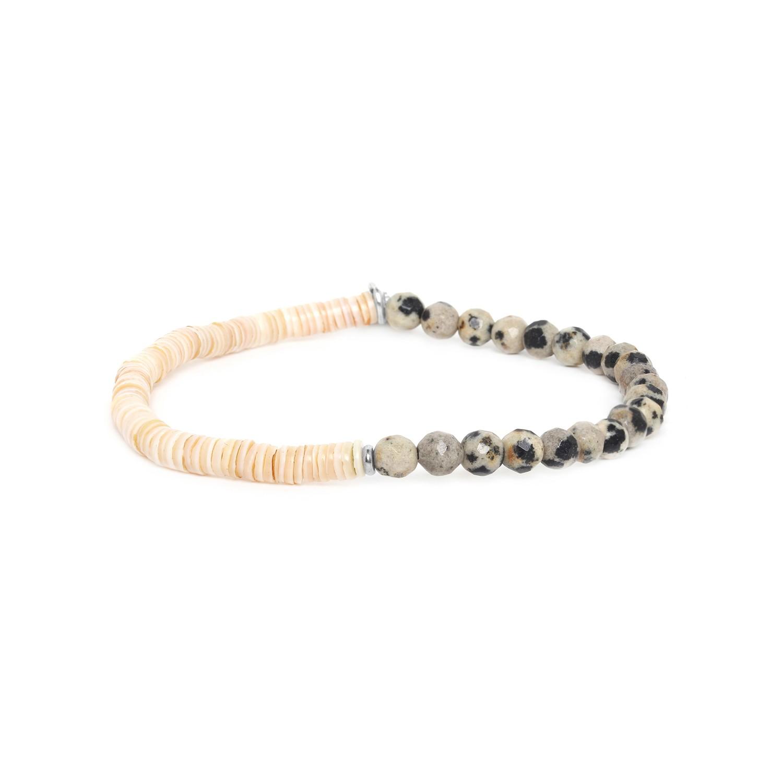 HEISHE bracelet extensible en jaspe dalmatien