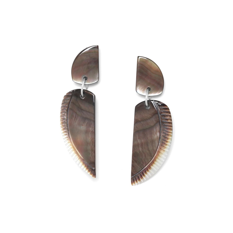 ENVOL boucles d'oreilles aile nacre noire