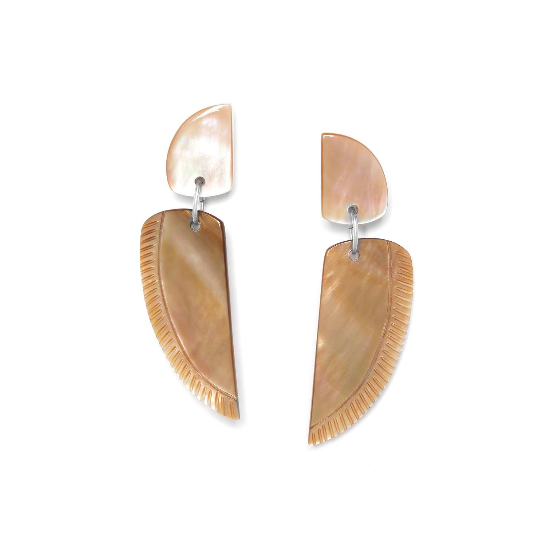 ENVOL boucles d'oreilles aile nacre brune