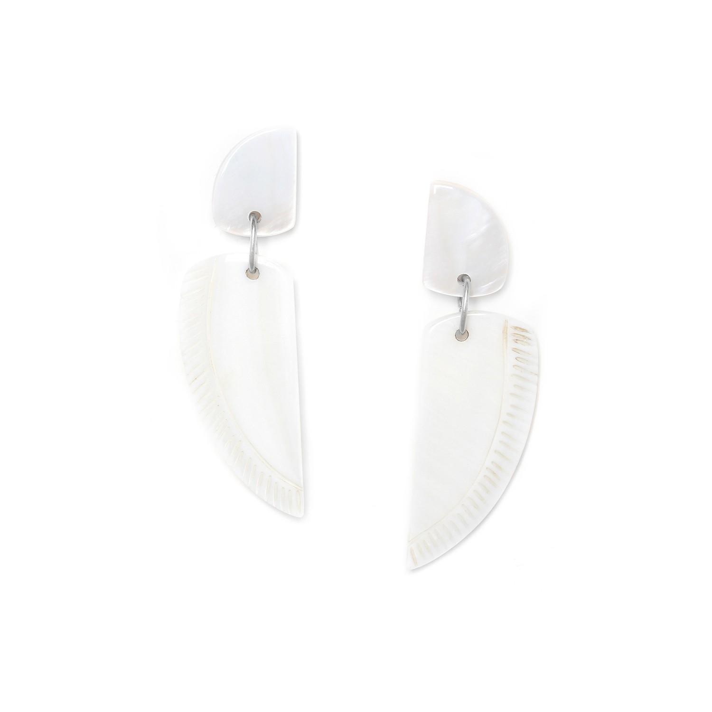 ENVOL boucles d'oreilles aile nacre blanche