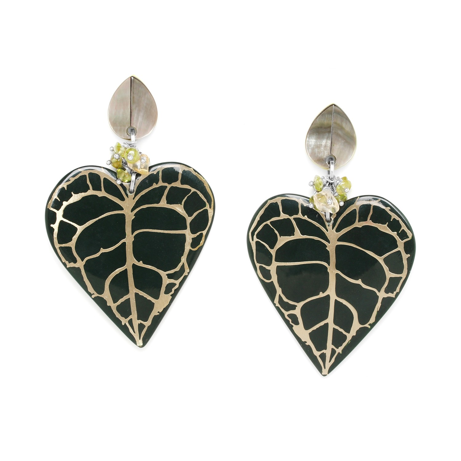 HERBORISTE heart shape leaves earrings