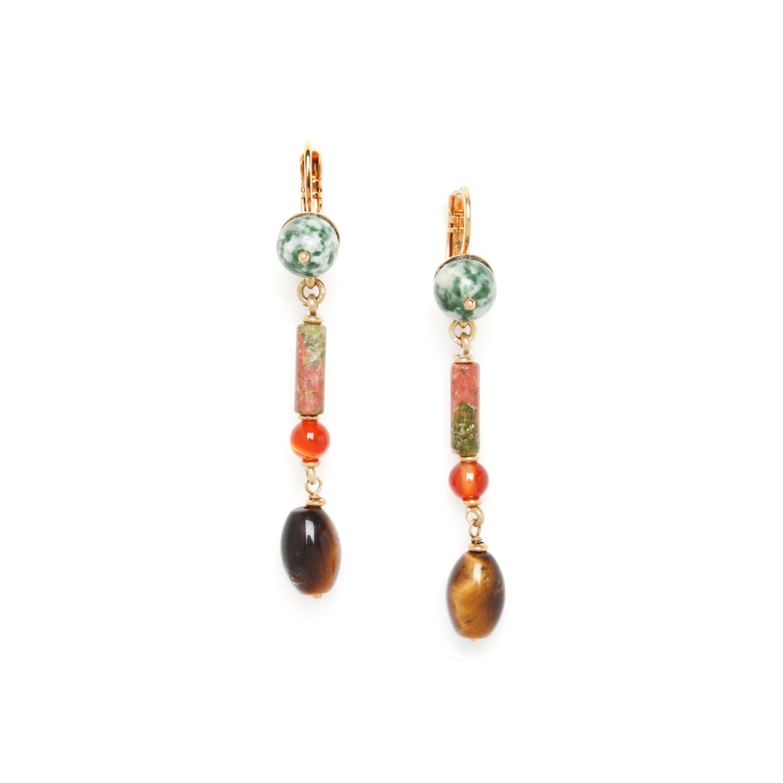 MINERA tiger eye olive earrings
