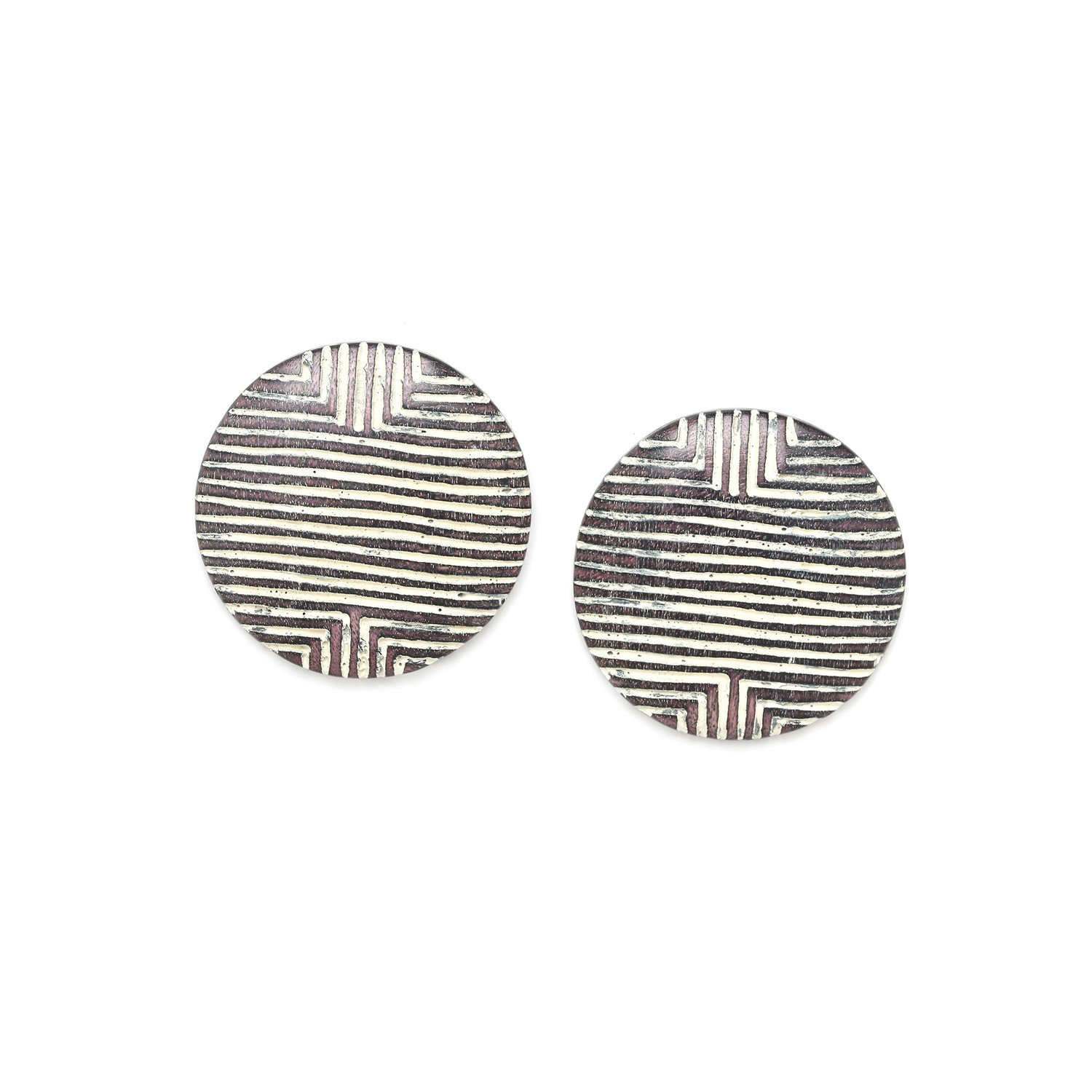 ZULU round shield post earrings