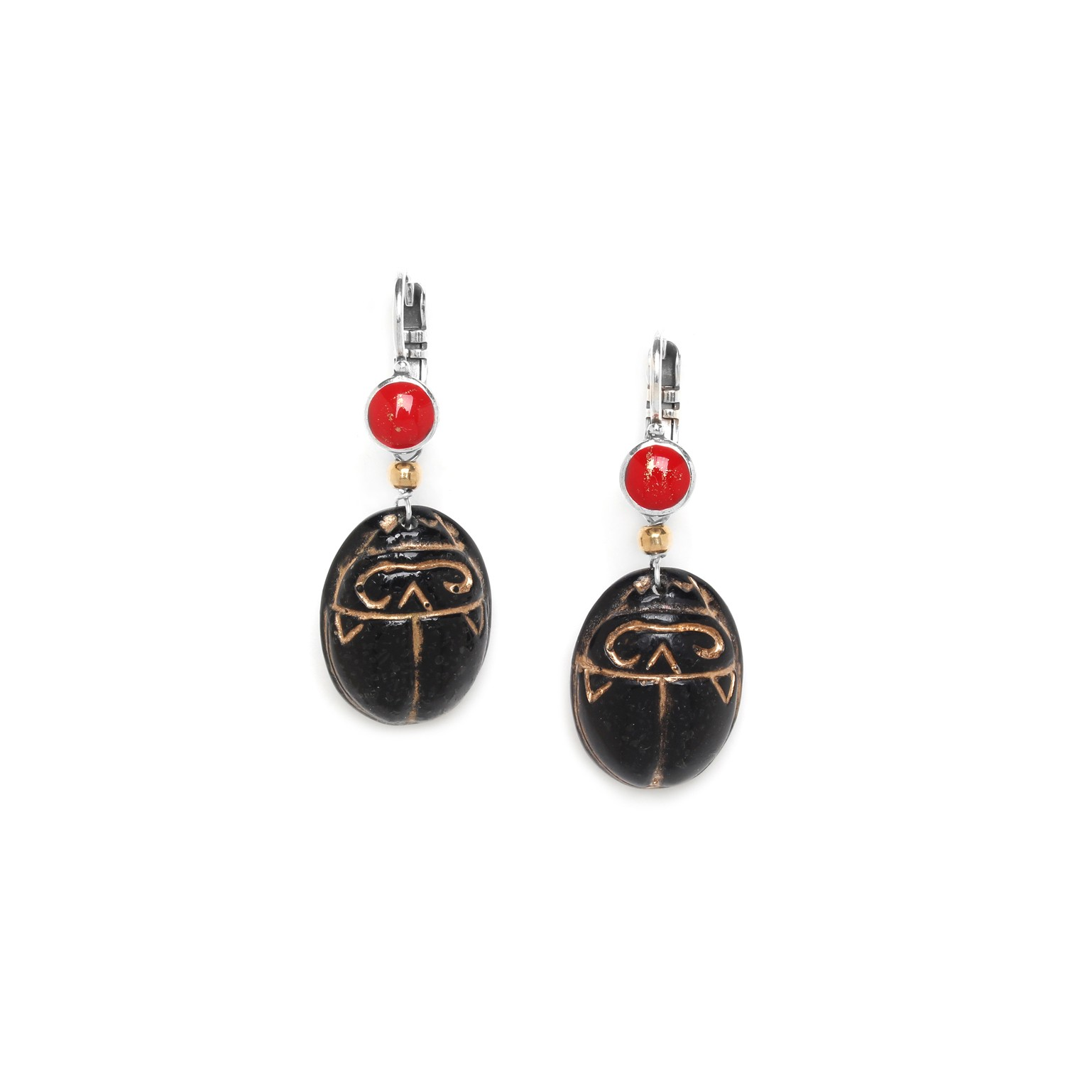 SEKHMET black scarab earrings