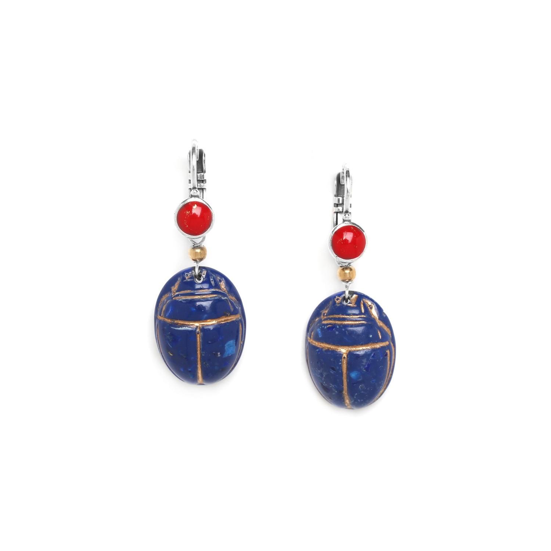 SEKHMET bleu scarab earrings