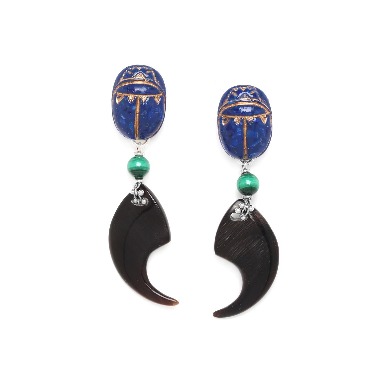 SEKHMET black horn claw earrings