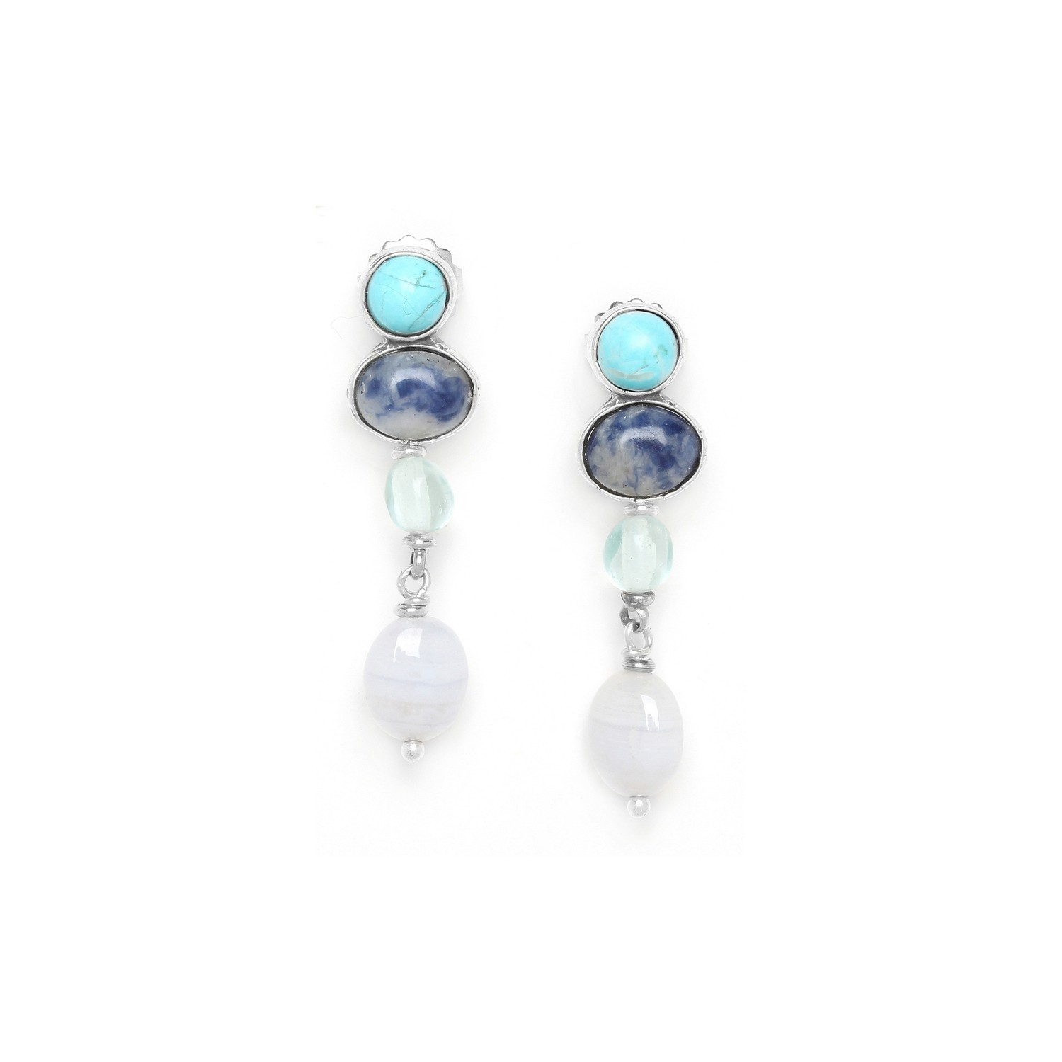 BLUE STONES 3 cabochons earrings