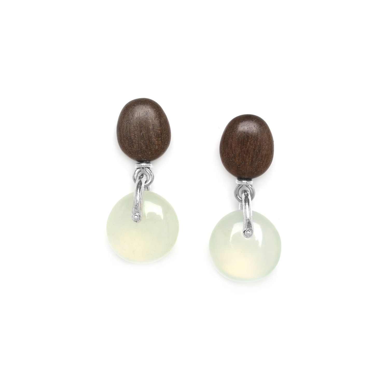 GALETS boucles d'oreilles jade & top ébène