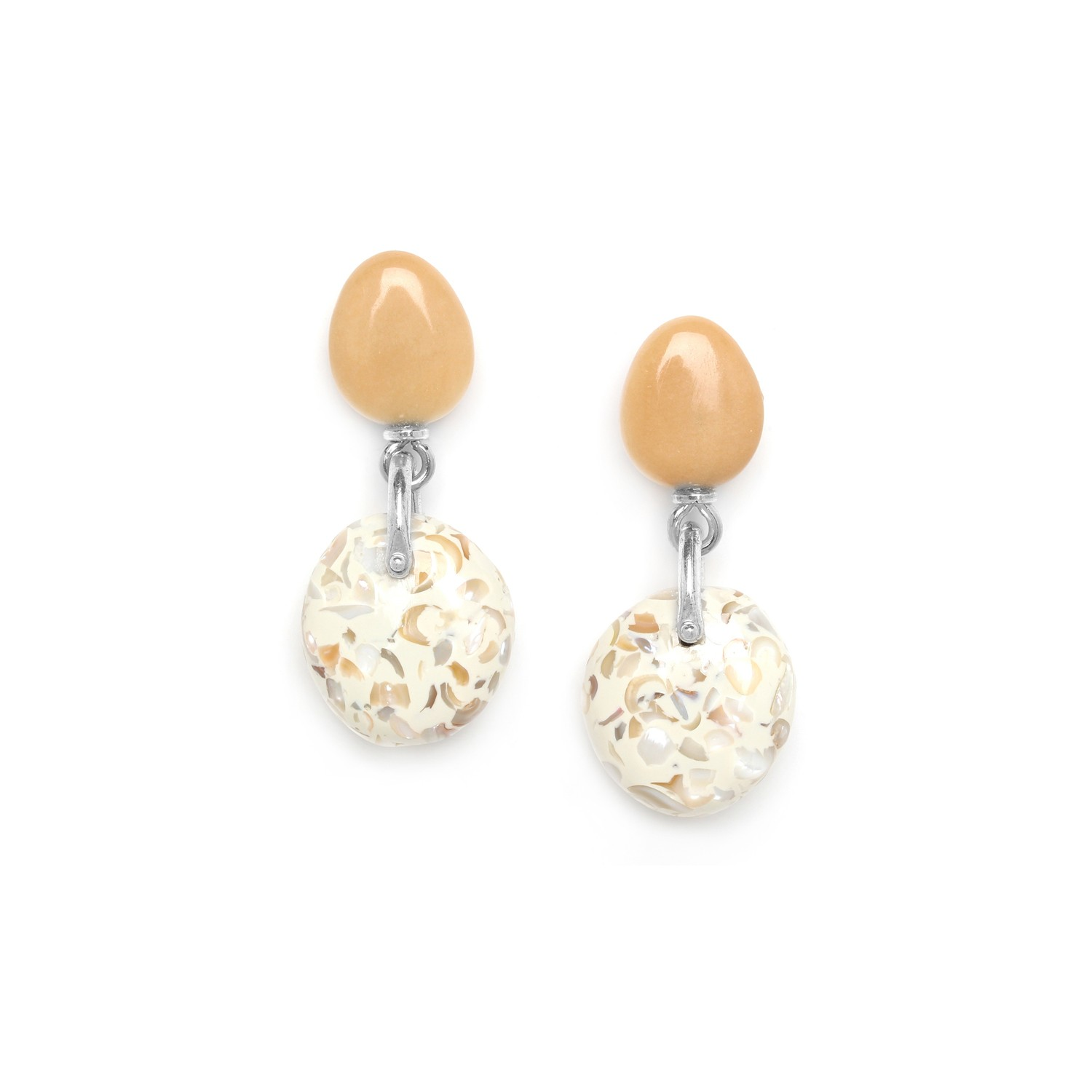GALETS boucles d'oreilles terrazzo top tagua
