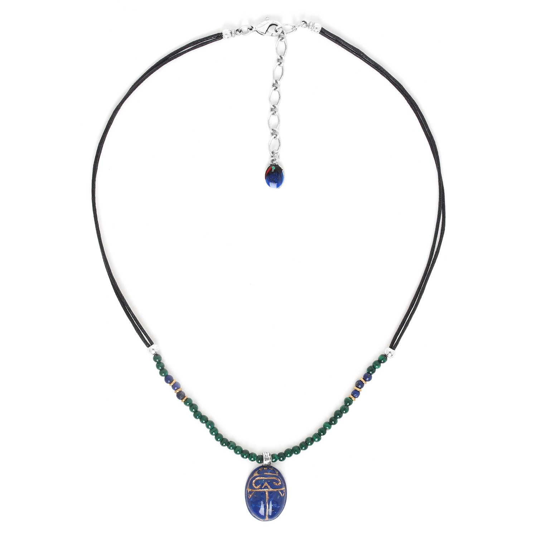 SEKHMET bleu scarab necklace