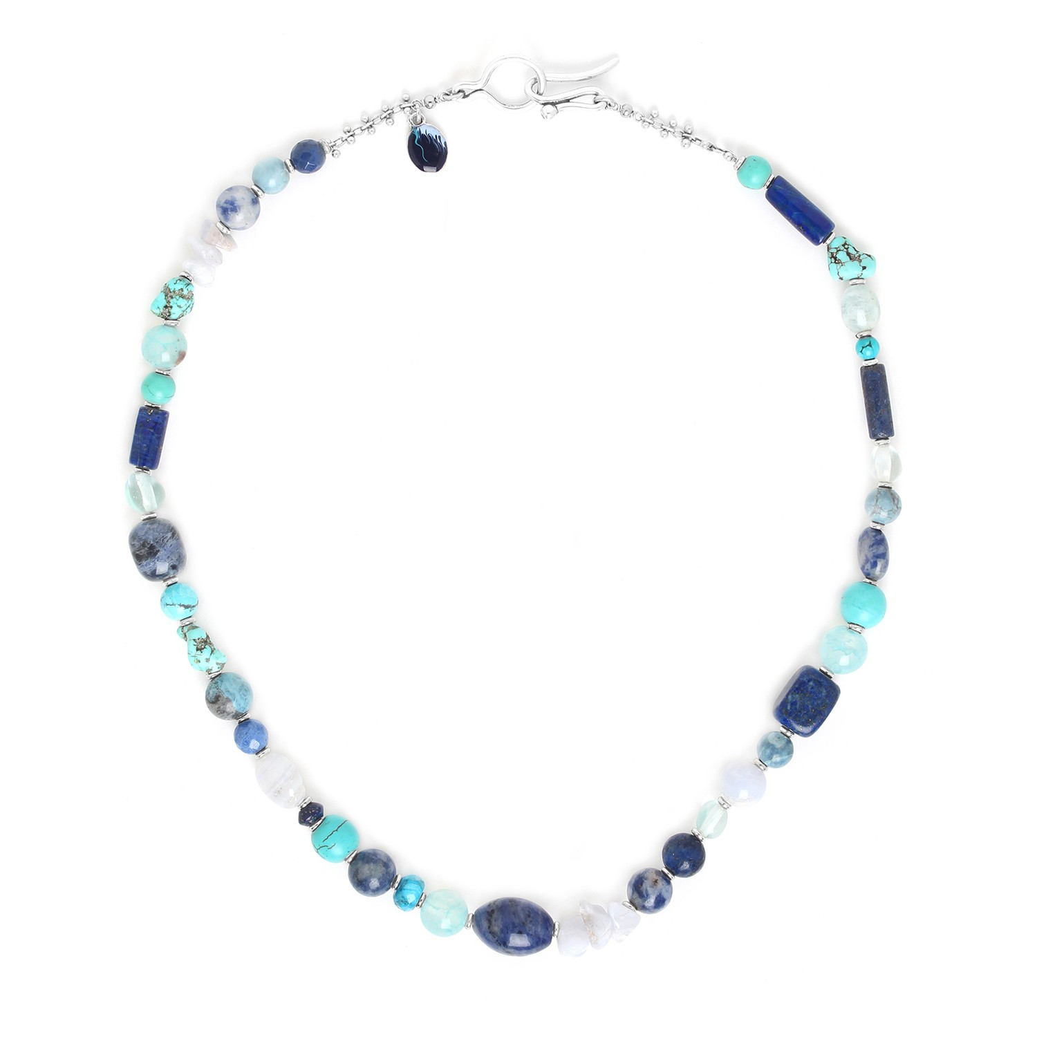 BLUE STONES hook necklace