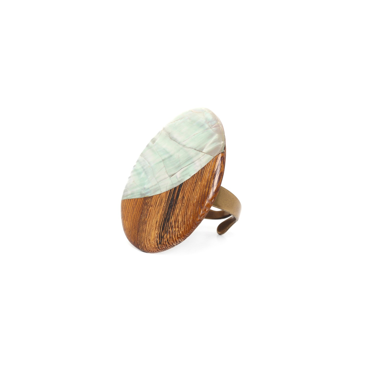 FOREST THERAPY wooden ring w/abalone