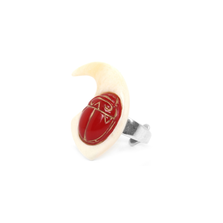 SEKHMET bone claw & red scara ring