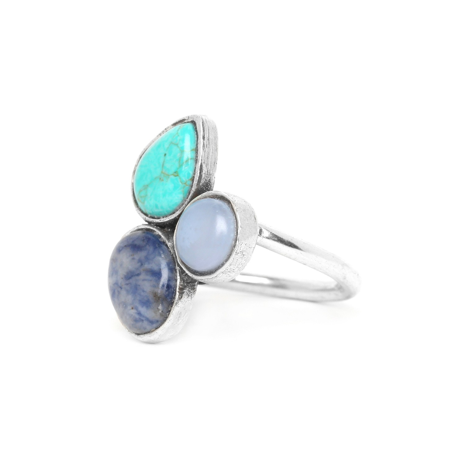 BLUE STONES 3 cabochons ring