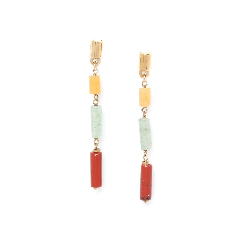 PIPELINE boucles d'oreilles jaspe jaune, rouge & aventurine