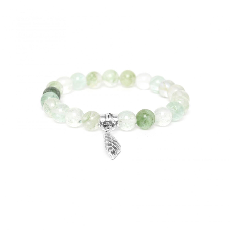 LEAF bracelet extensible quartz rutile vert