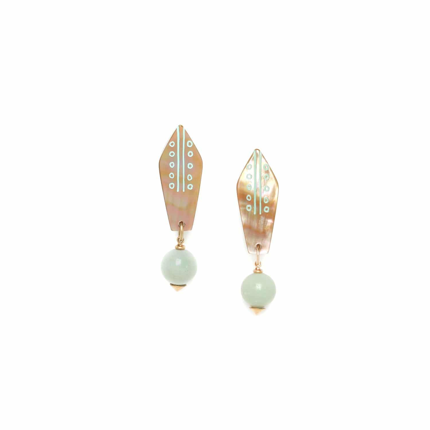 CELADON   amazonite bead clip earrings