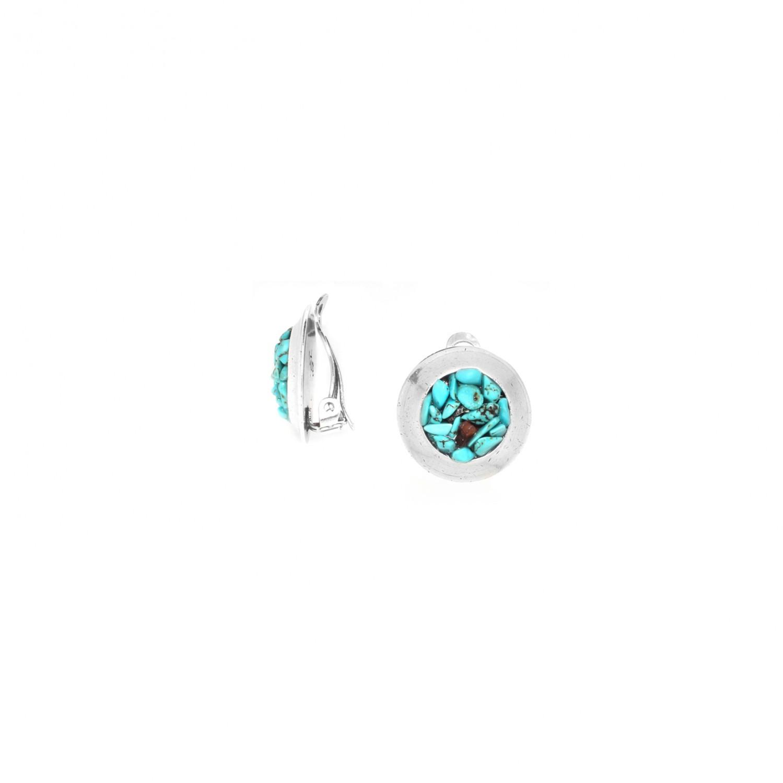 COLORADO  boucles d'oreilles clips éclats de turquoise