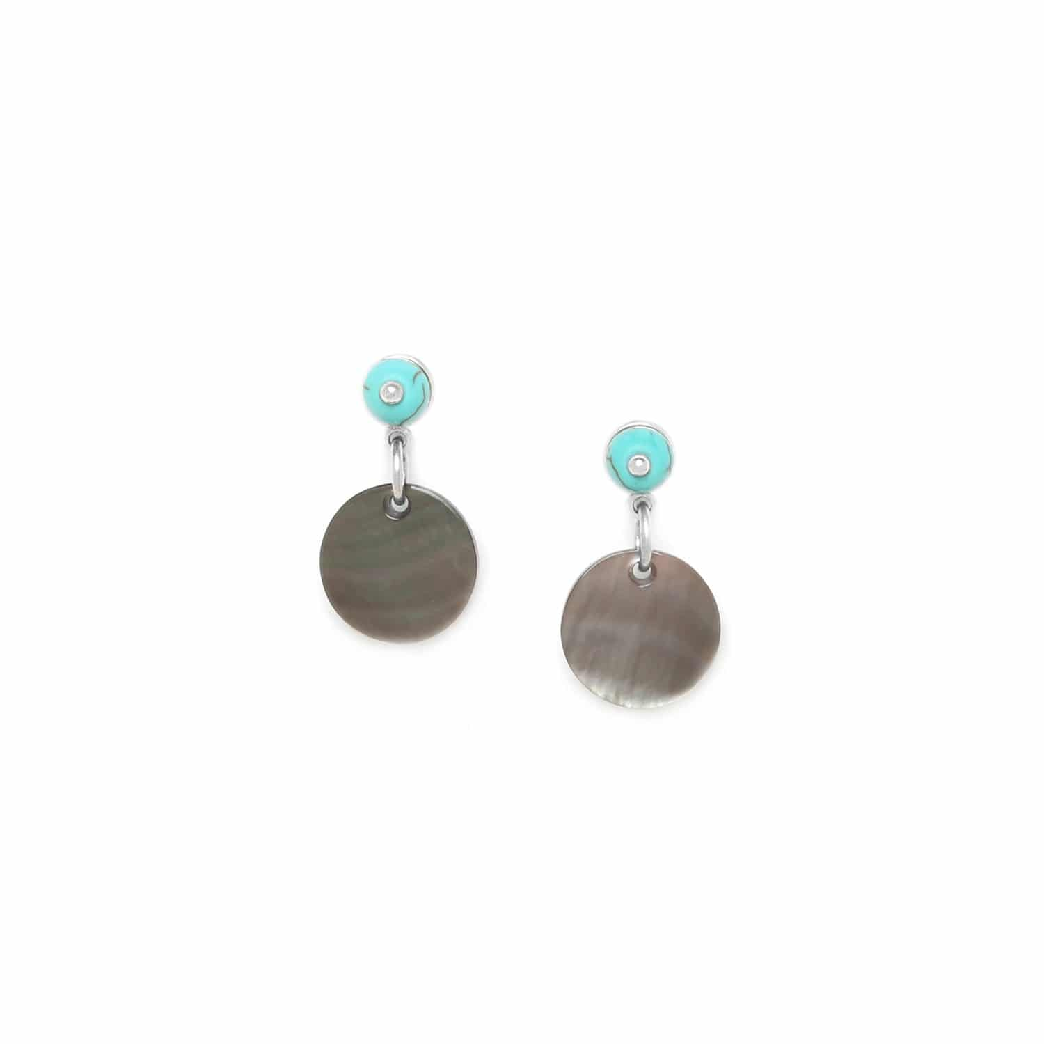 CURACAO blacklip disc earrings