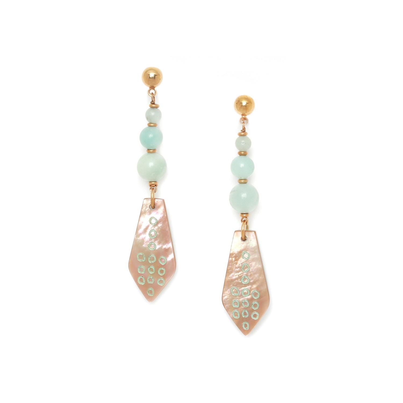 CELADON boucles d'oreilles 3 perles amazonite et nacre brune
