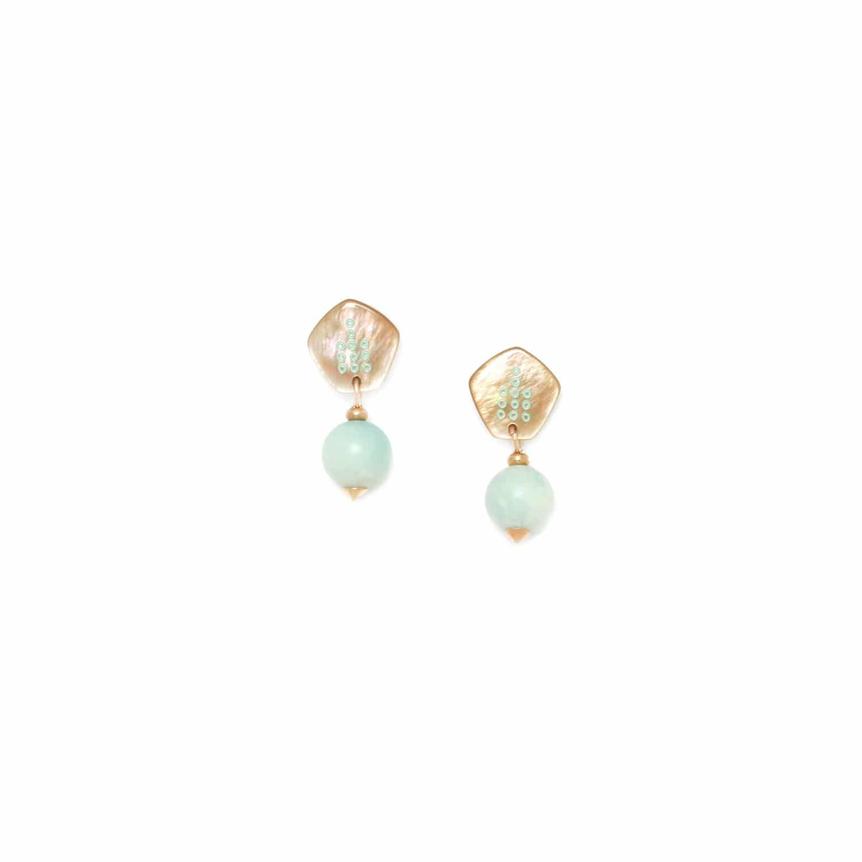 CELADON boucles d'oreilles perle amazonite 12mm