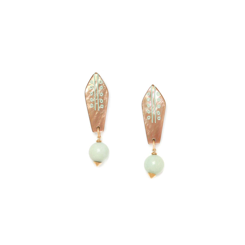 CELADON boucles d'oreilles perle amazonite