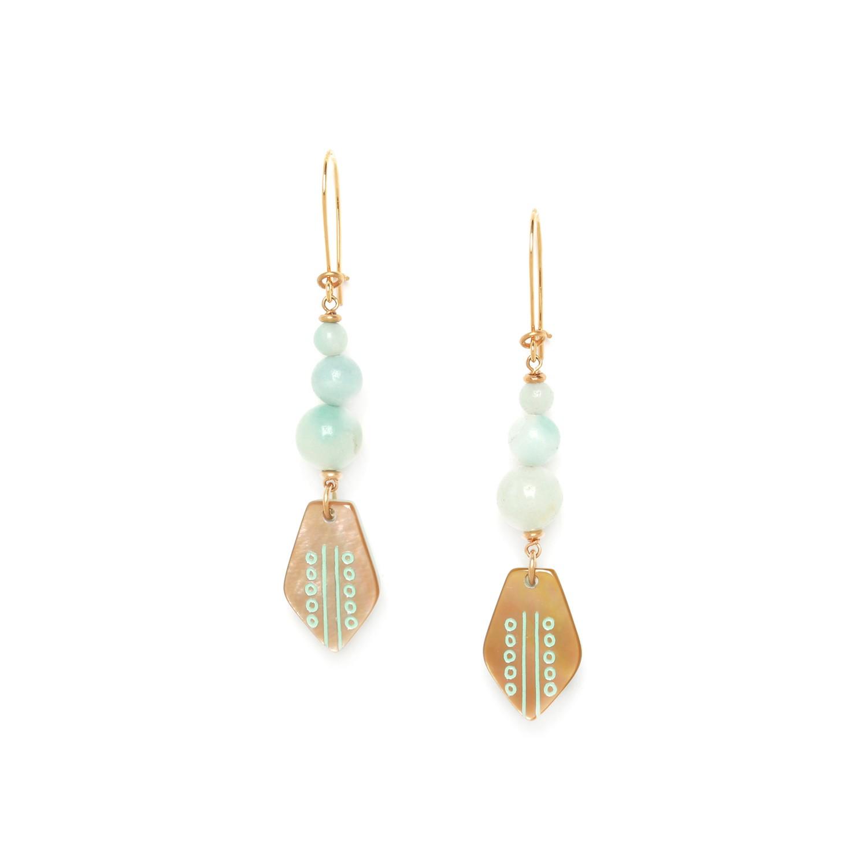 CELADON  boucles d'oreilles 3 perles et nacre brune sur crochet