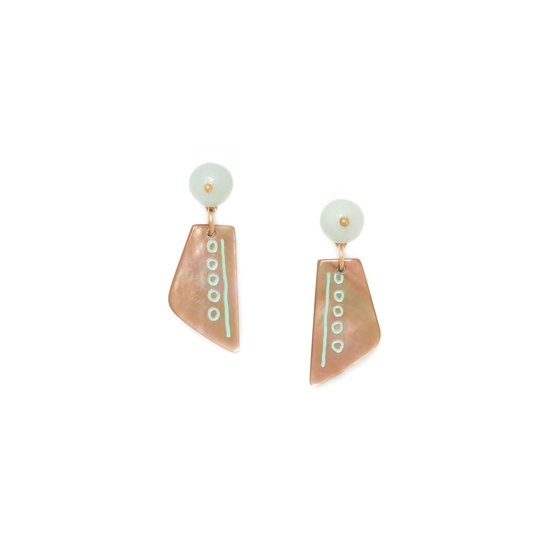 CELADON  brownlip earrings with amazonite top