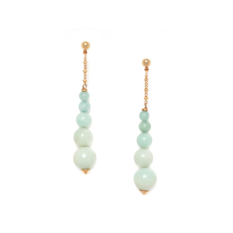 CELADON  boucles d'oreilles 5 perles amazonite