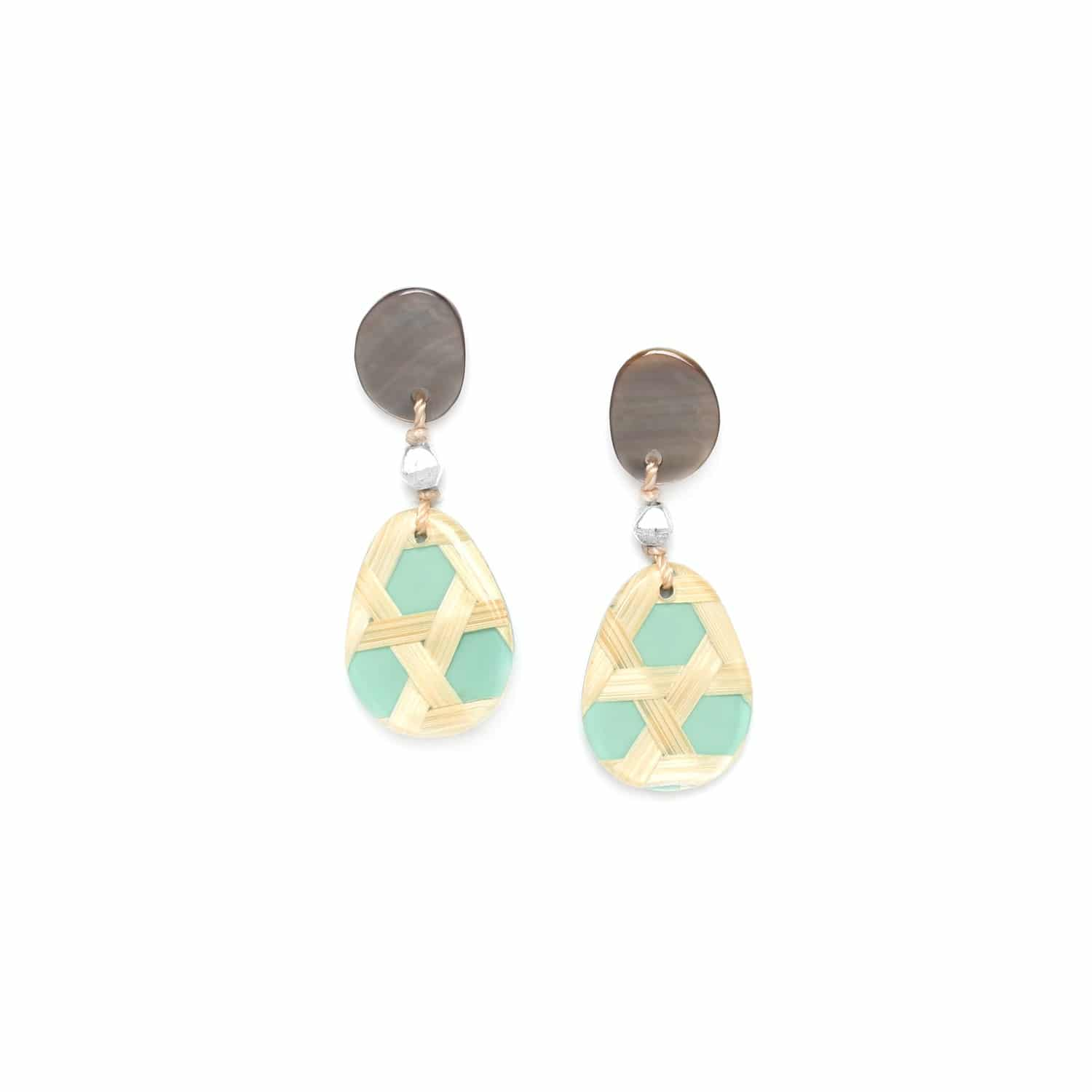 CANNAGE  small turquoise earrings with blacklip top
