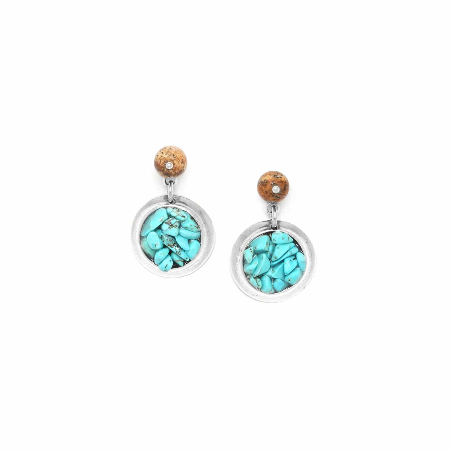 COLORADO turquoise chips mini earrings