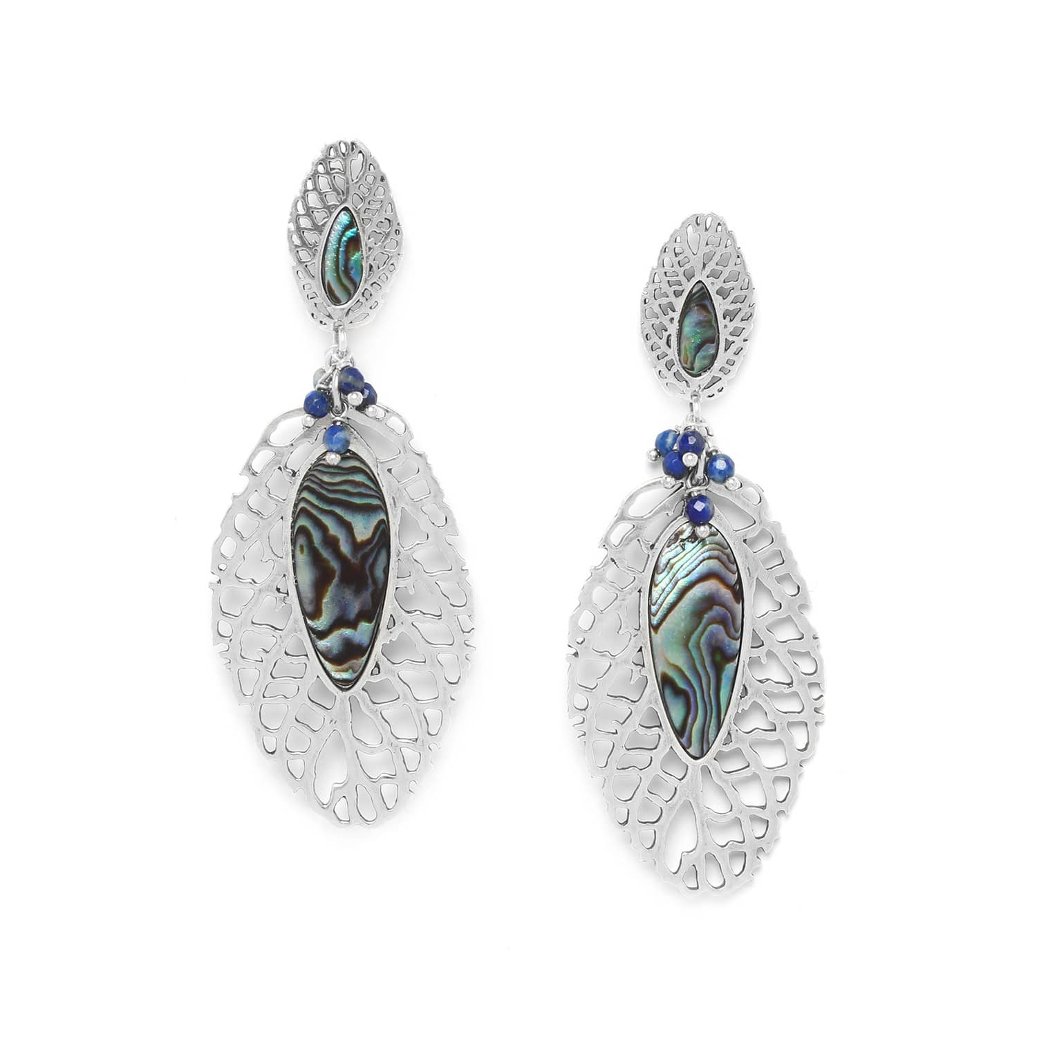 FITTONIA beaded leaf earrings /silver