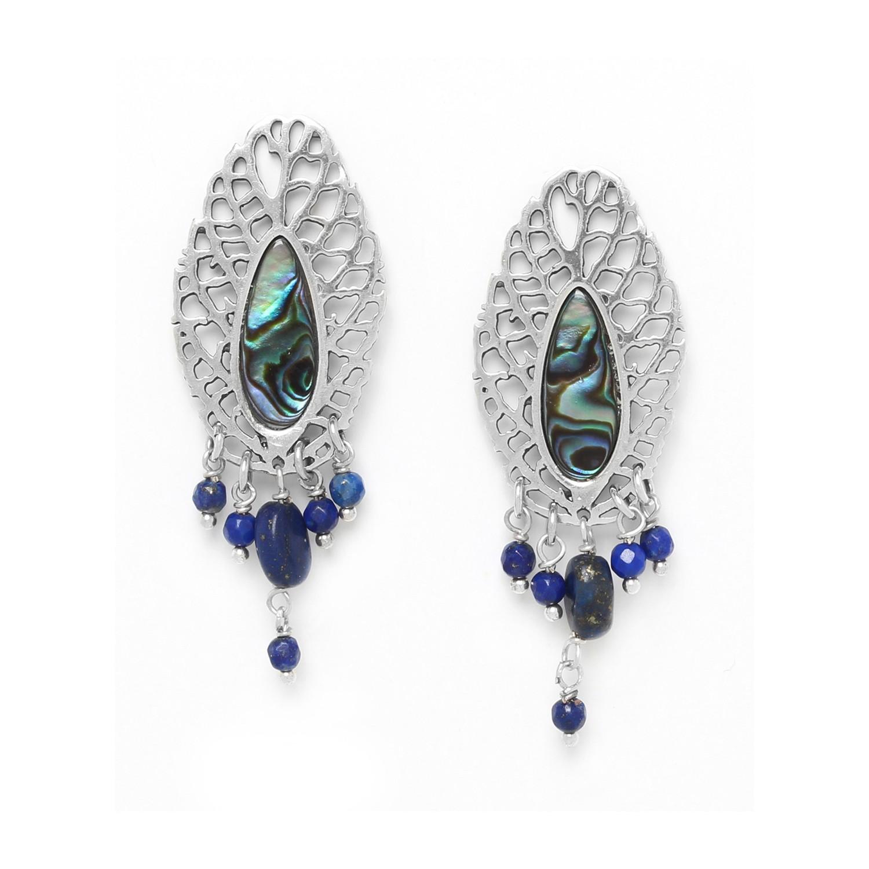 FITTONIA boucles d'oreilles feuille & pampilles lapis lazuli /argent