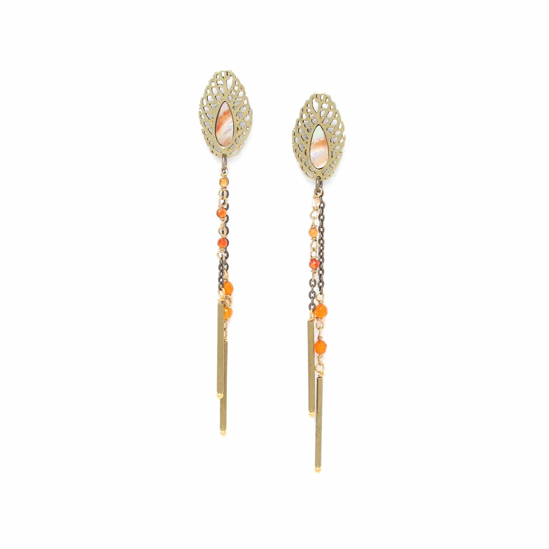 FITTONIA boucles d'oreilles deux chaînes /bronze