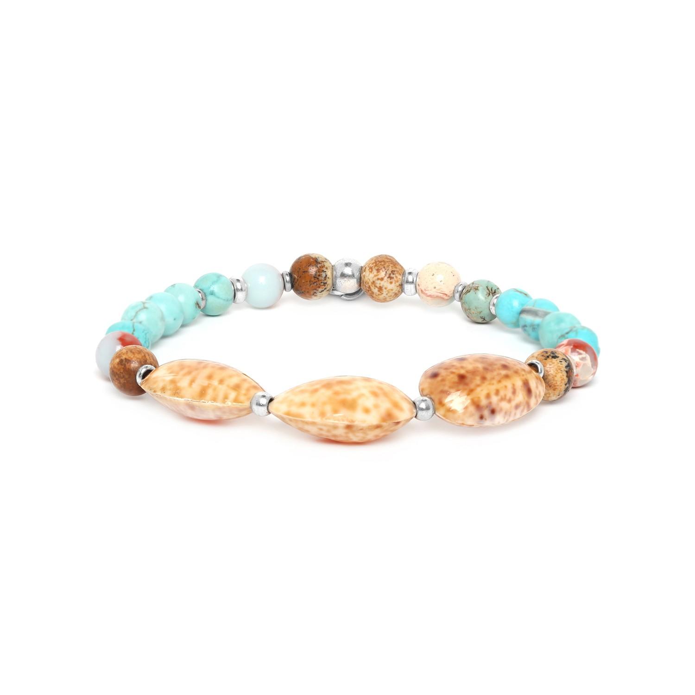 COLORADO  three shell bead stretch bracelet