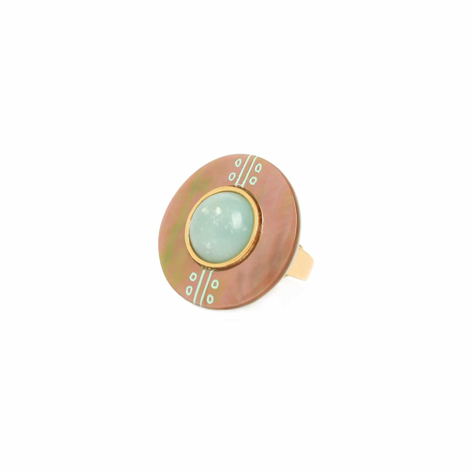 CELADON bague or ronde nacre brune et amazonite