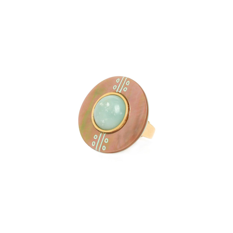CELADON brownlip & amazonite gold round ring