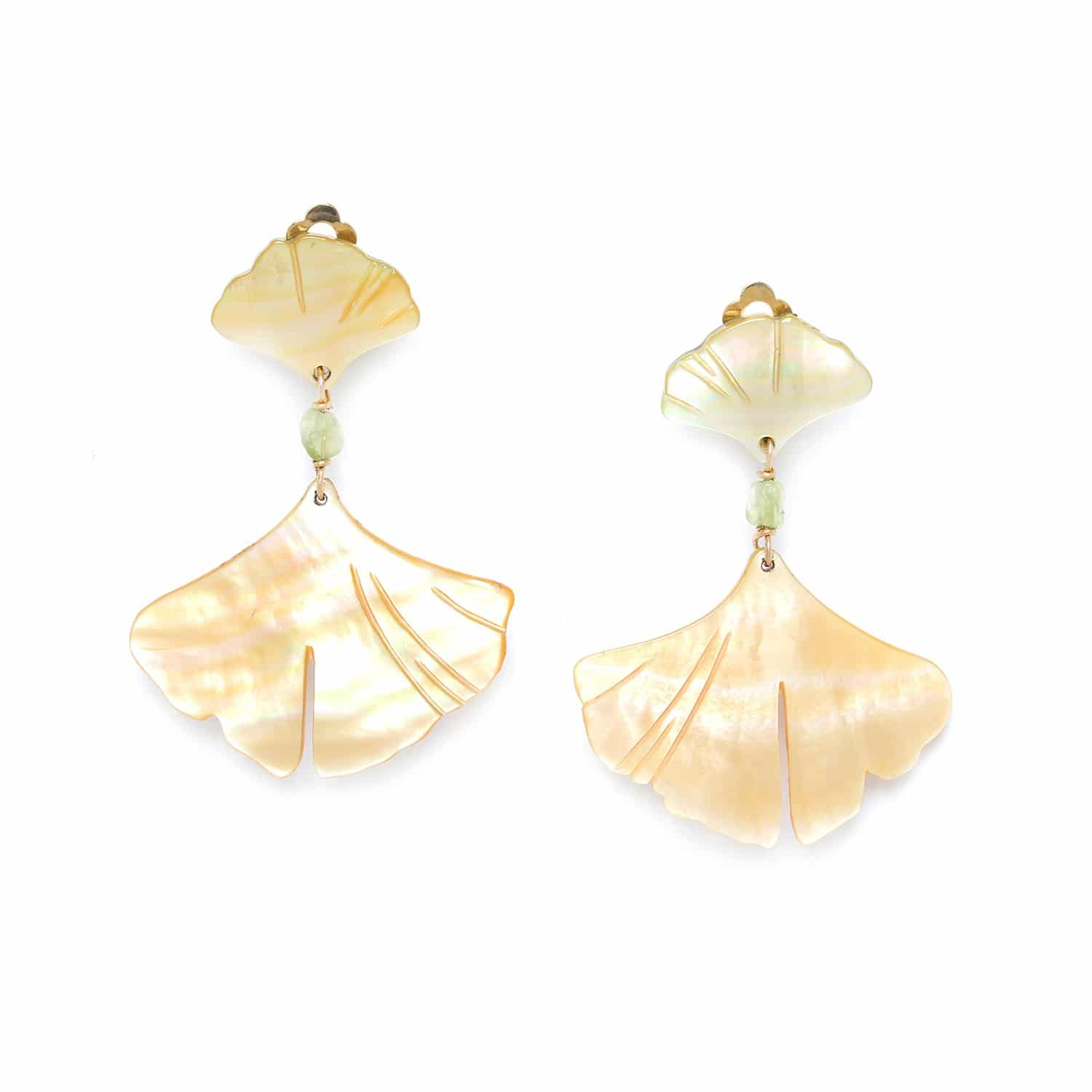 GINKGO 2 leaf clip earrings